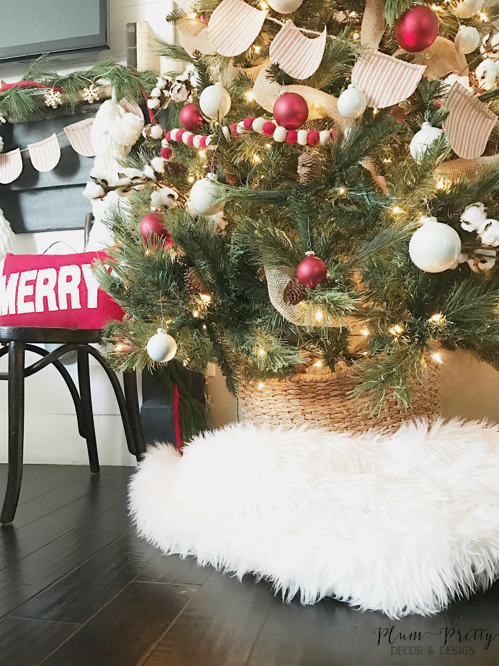 Farmhouse Christmas Bedroom Tour- Faux Fur Tree Skirt- By Kayla Miller or Plum Pretty Decor and Design