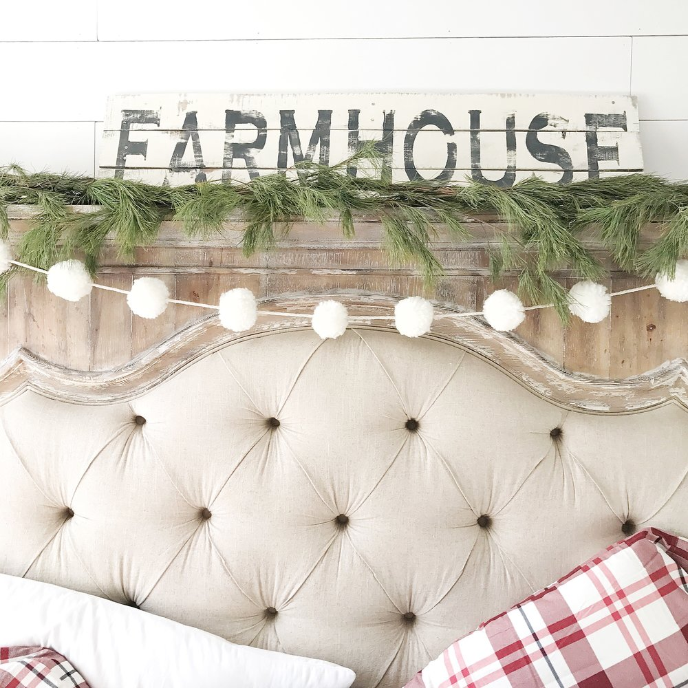 Farmhouse Christmas Bedroom Tour- Farmhouse Sign - By Kayla Miller of Plum Pretty Decor and Design