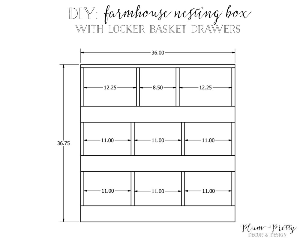 DIY: Farmhouse Nesting Box with Locker Basket Drawers Tutorial by Plum Pretty Decor and Design