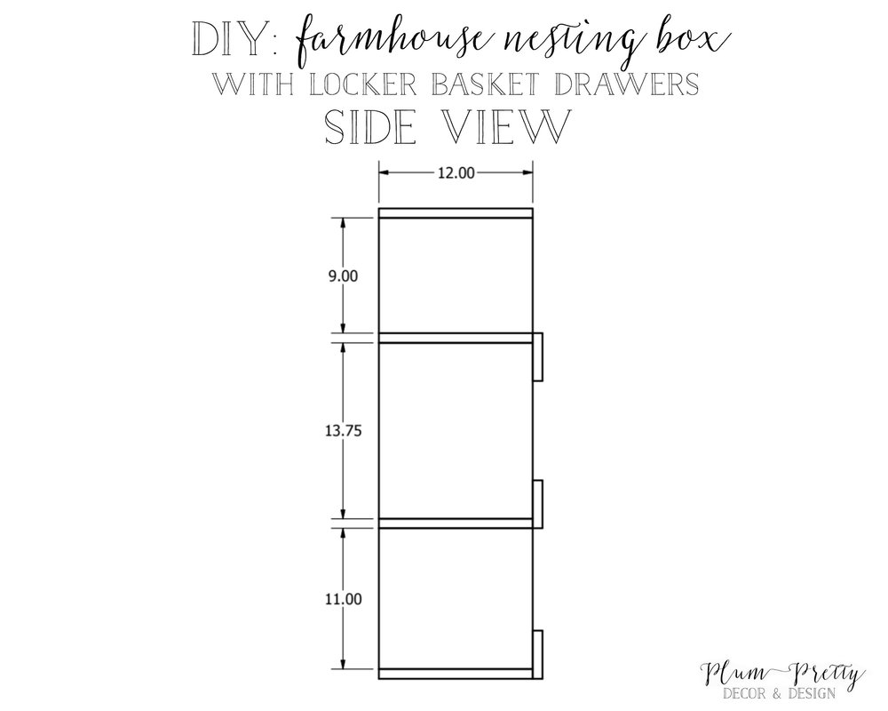 DIY: Farmhouse Nesting Box with Locker Basket Drawers Tutorial Side View by Plum Pretty Decor and Design