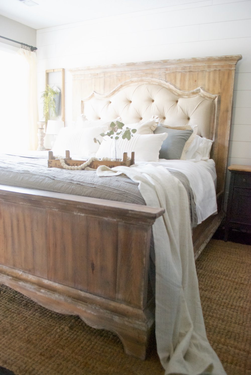 French Country Farmhouse Style Bed  Farmhouse Style Bedroom  Plum Pretty  Decor And Design