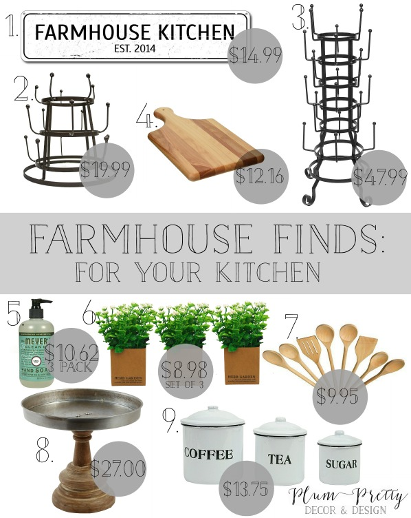 Farmhouse Finds For Your Kitchen- Plum Pretty Decor and Design