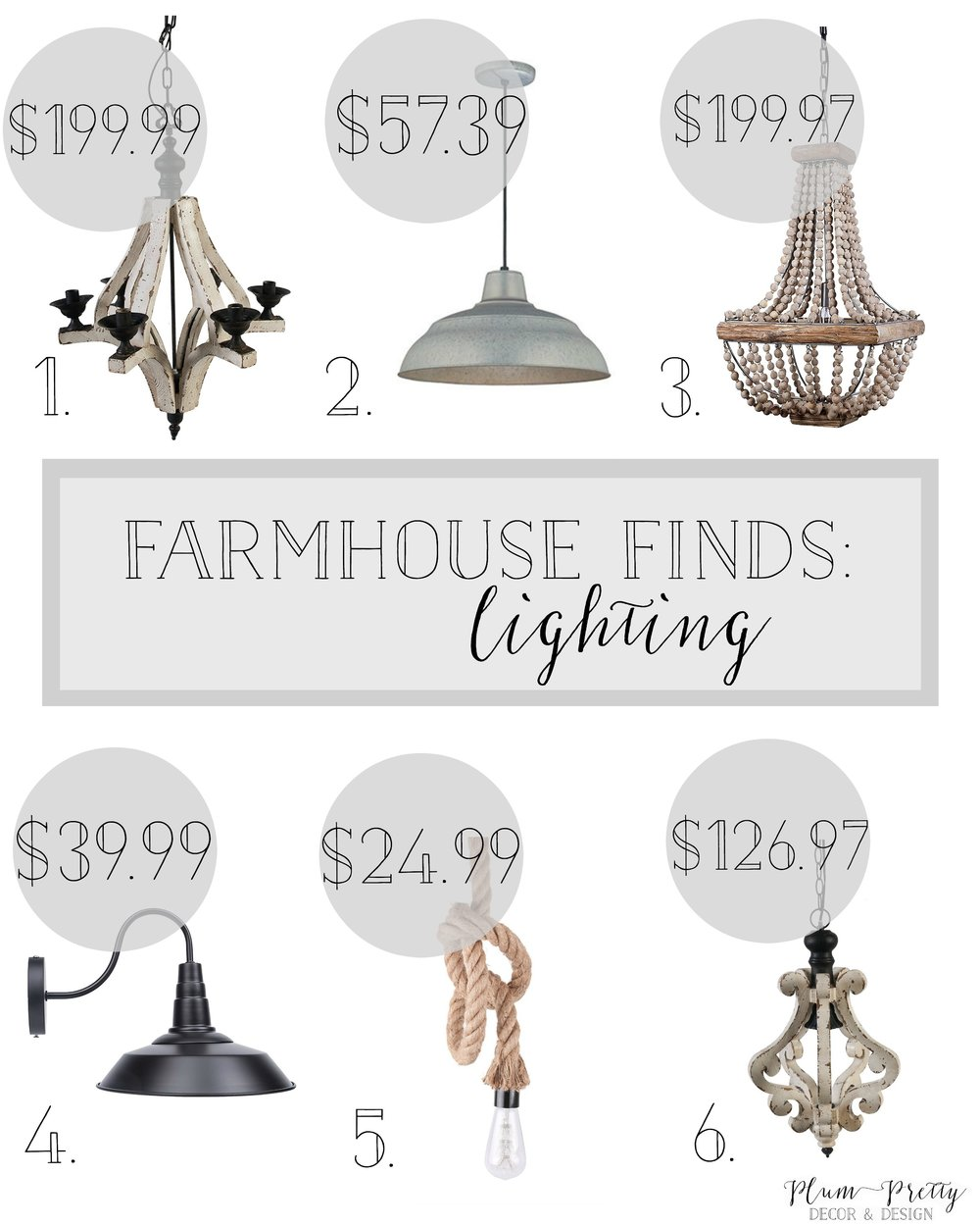 Farmhouse Style Lighting- Affordable Farmhouse Lighting- Hand picked by Plum Pretty Decor and Design