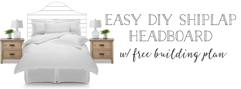 DIY Shiplap Headboard- Shiplap Bed Building Plans for FREE- By Plum Pretty Decor and Design