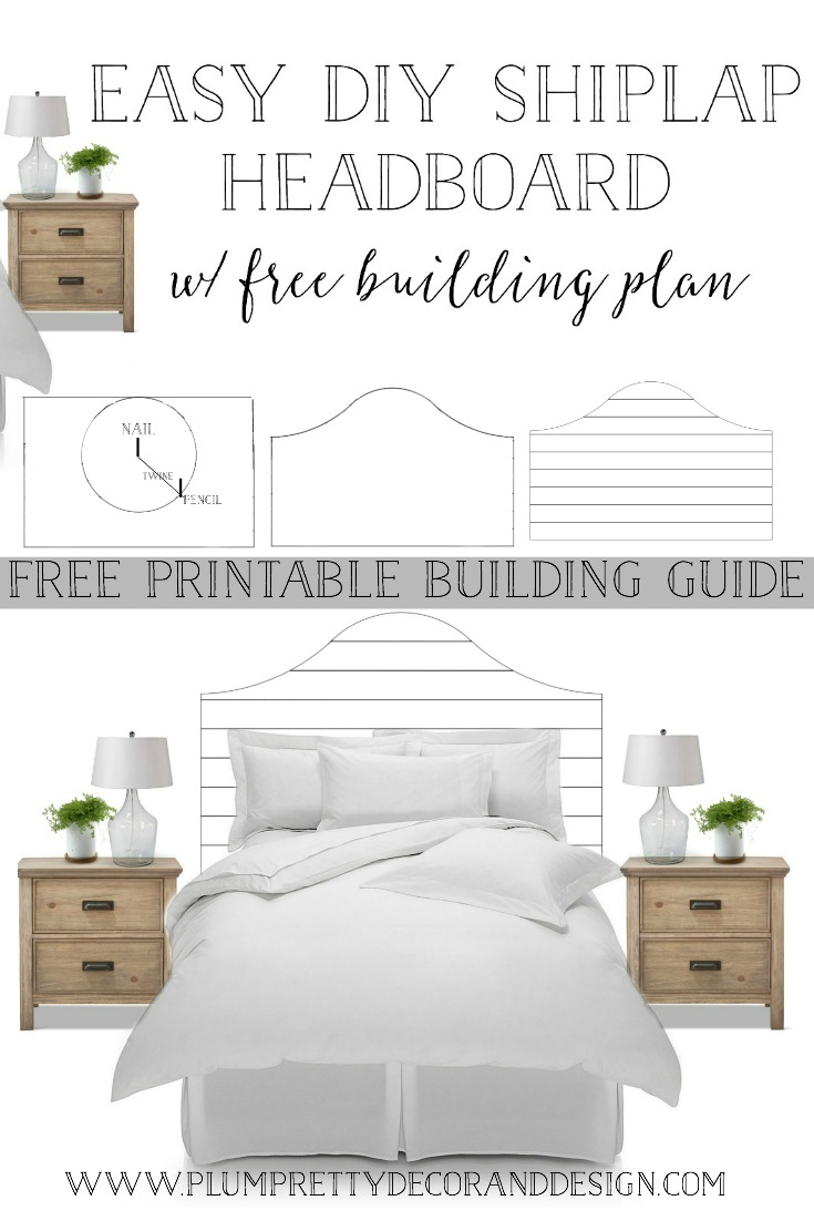 Easy DIY Shiplap Headboard Bed Tutorial with FREE Printable Building Guide-  See more by clicking