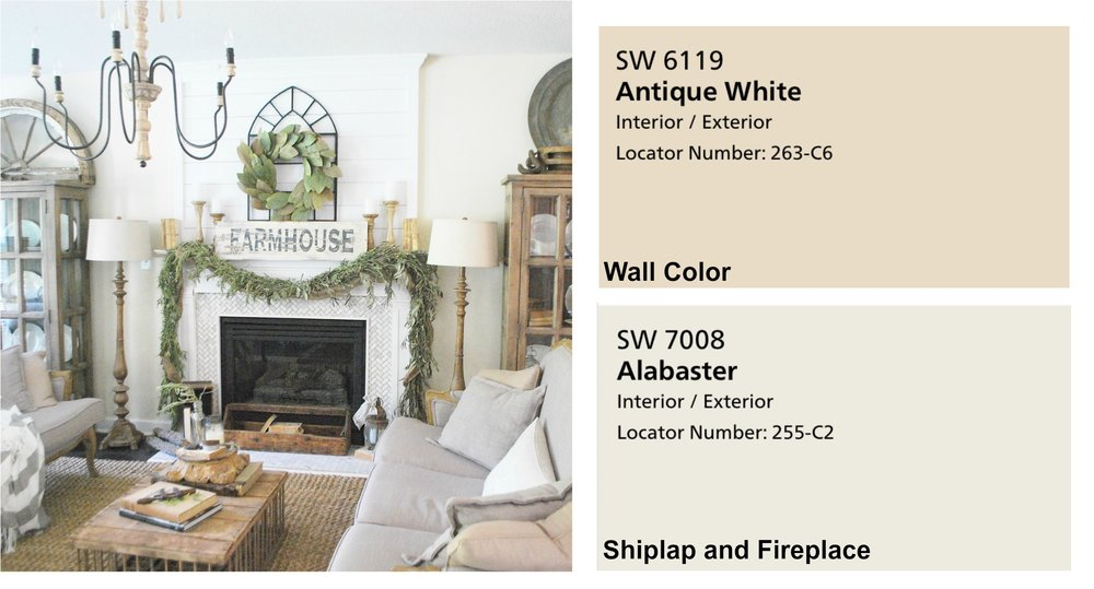 Farmhouse Paint Colors- Living Room with shiplap fireplace. Full Home Color Scheme at Plumprettydeoranddesign.com