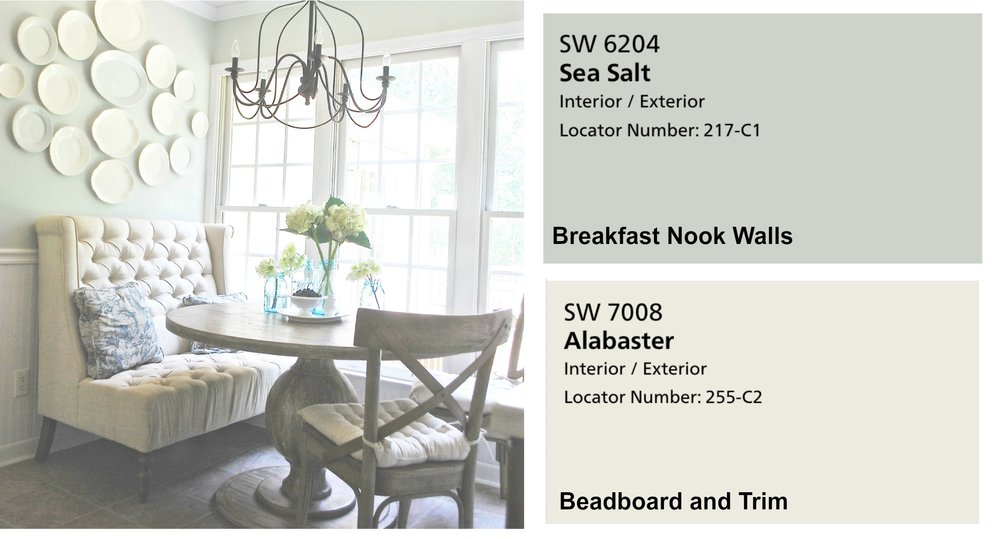 Farmhouse Paint Colors- Breakfast Nook in Sea Salt. Full Home Color Scheme at Plumprettydeoranddesign.com