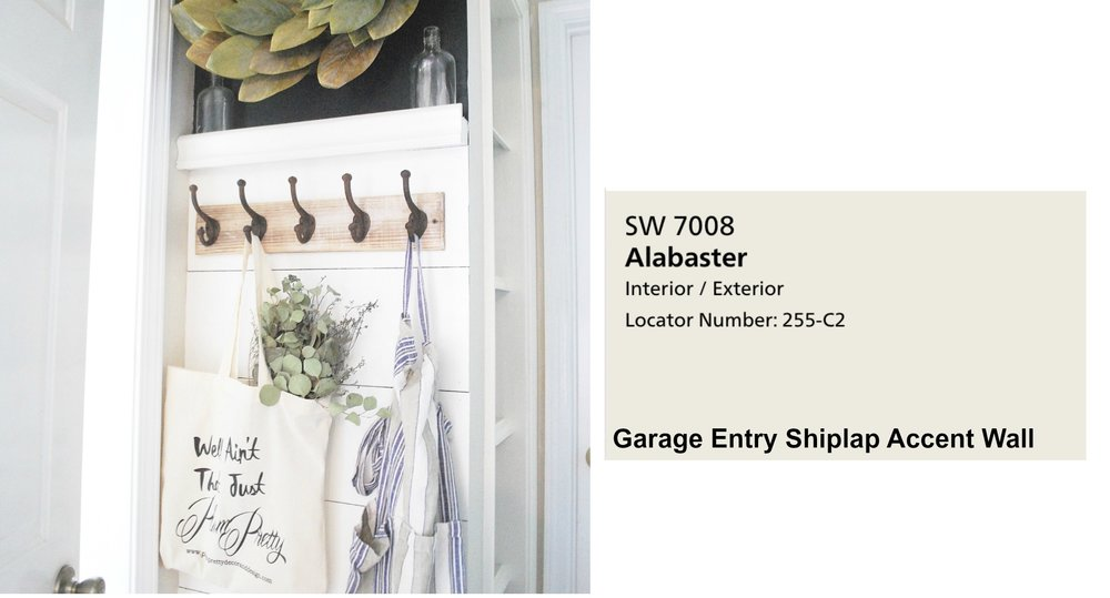 Farmhouse Paint Colors- Shiplap Entry Way Paint Color. Full Home Color Scheme at Plumprettydeoranddesign.com