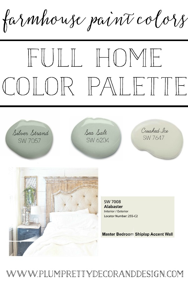 Farmhouse Paint Colors- A full home color palette tour. See more farmhouse paint colors in each room of Kayla Miller's builder basic turned farmhouse- Plum Pretty Decor and Design Blog.