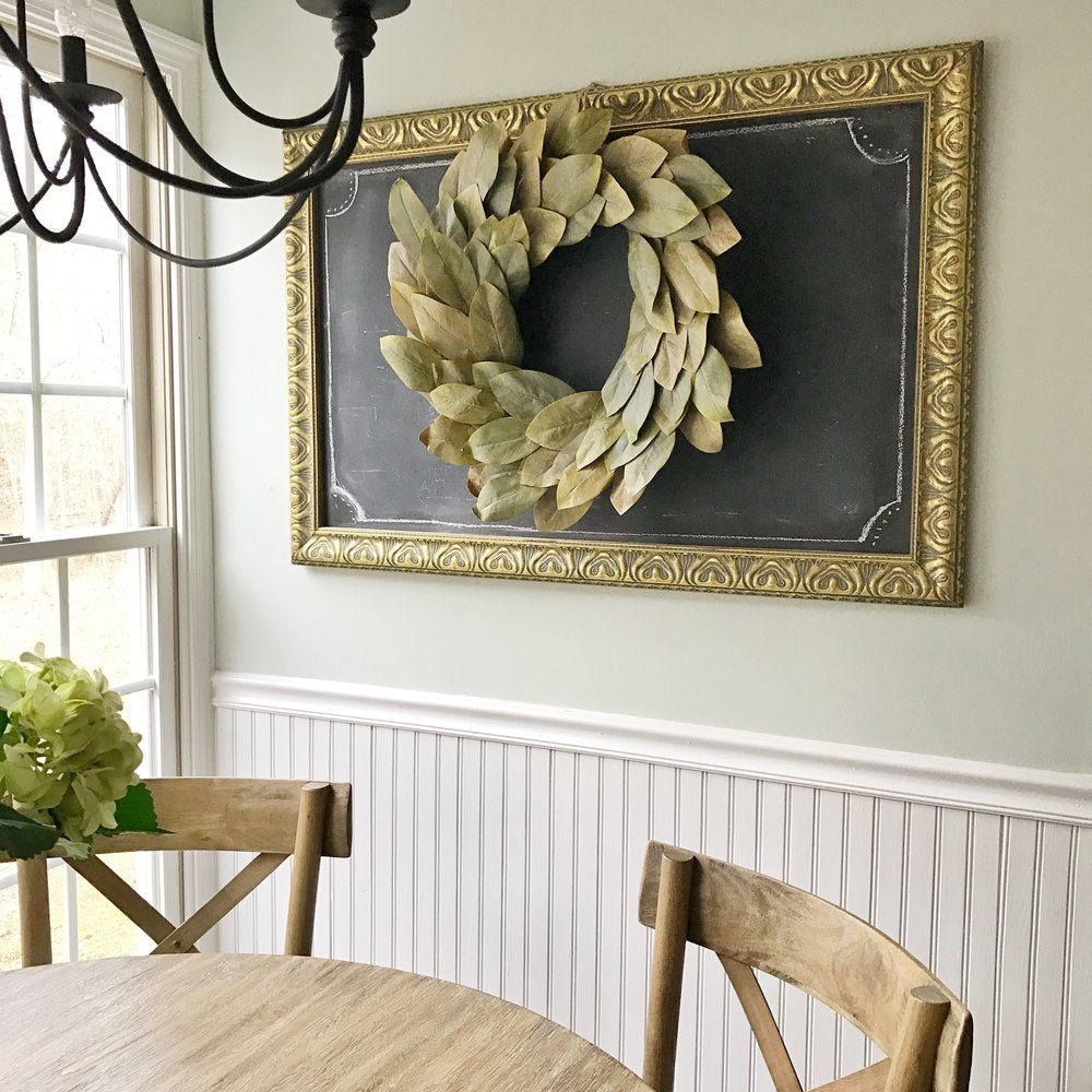 Breakfast Nook Wall Decor Refresh- See how Kayla changed this space by swapping out the chalkboard for some antique finds. Plum Pretty Decor and Design