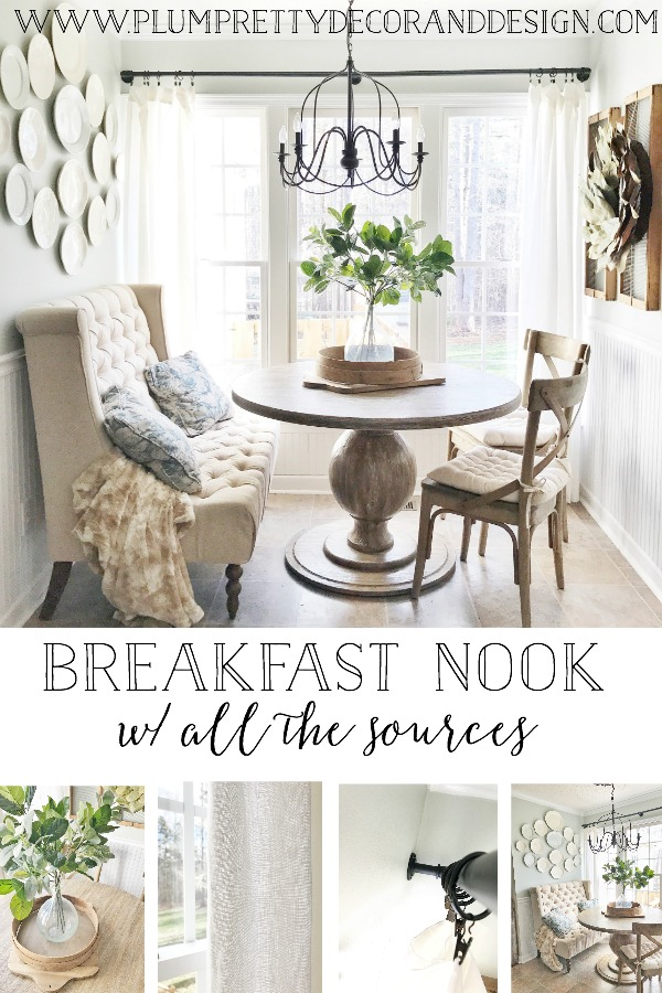 Farmhouse French Inspired Breakfast Nook- See more on Plum Pretty Decor and Design's Blog and all the sources for furnishings and decor.