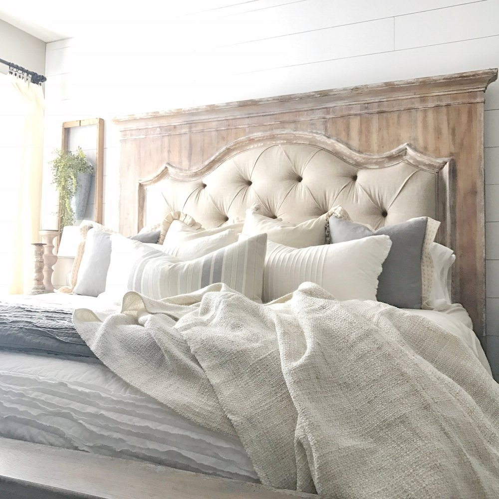 Neutral Decor Advice- Neural Decor Bedroom with Neural Linens and a Tufted Bed by Plum Pretty Decor and Design