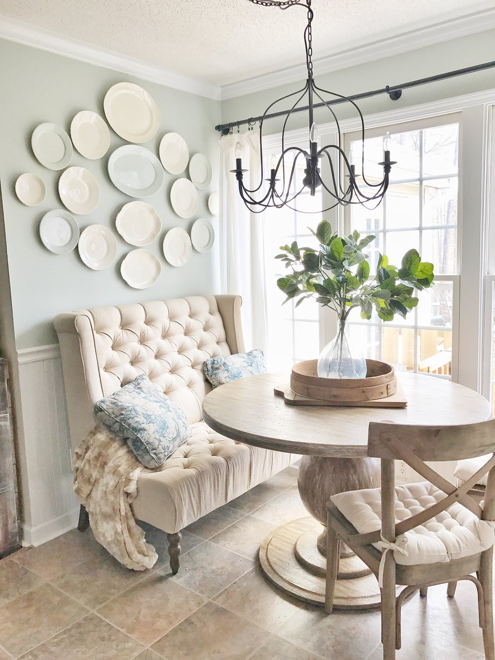 Home Tour  Farmhouse Style Breakfast Nook With A White Plate Wall By Plum  Pretty Decor