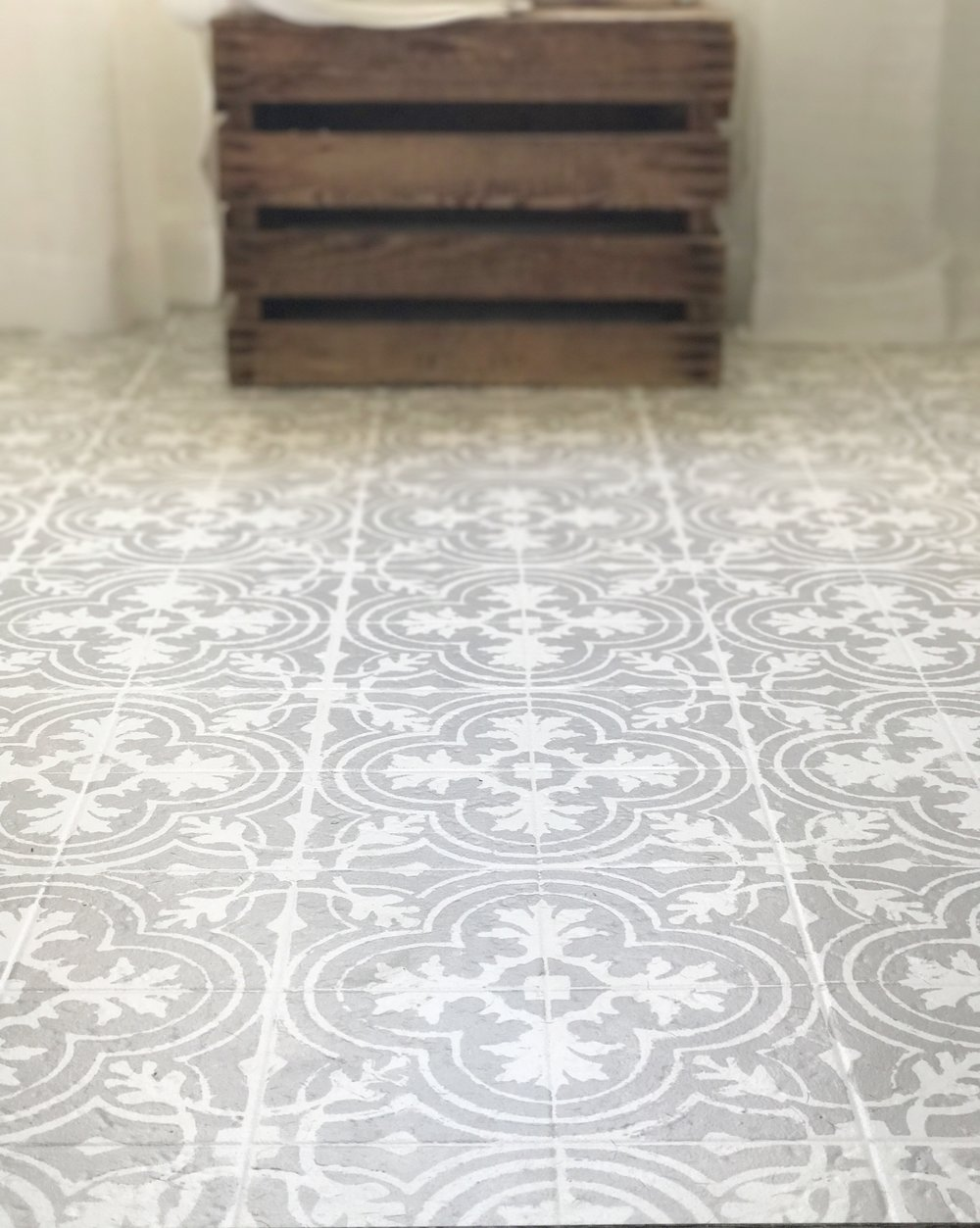 Plum pretty decor design co how to paint your linoleum for Patterned linoleum tiles