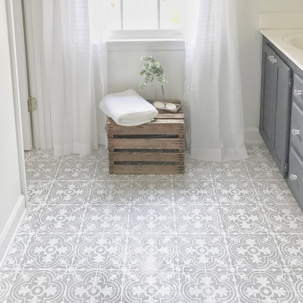 Diy tutorial and free stencil download how to paint your linoleum or tile floors to