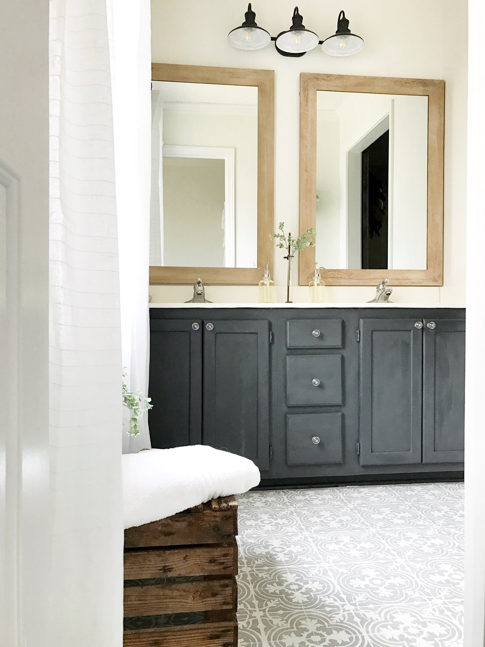 Full Tour- Painted Bathroom Vanity for a Weekend Budget Friendly Master Bathroom Makeover- By Plum Pretty Decor and Design