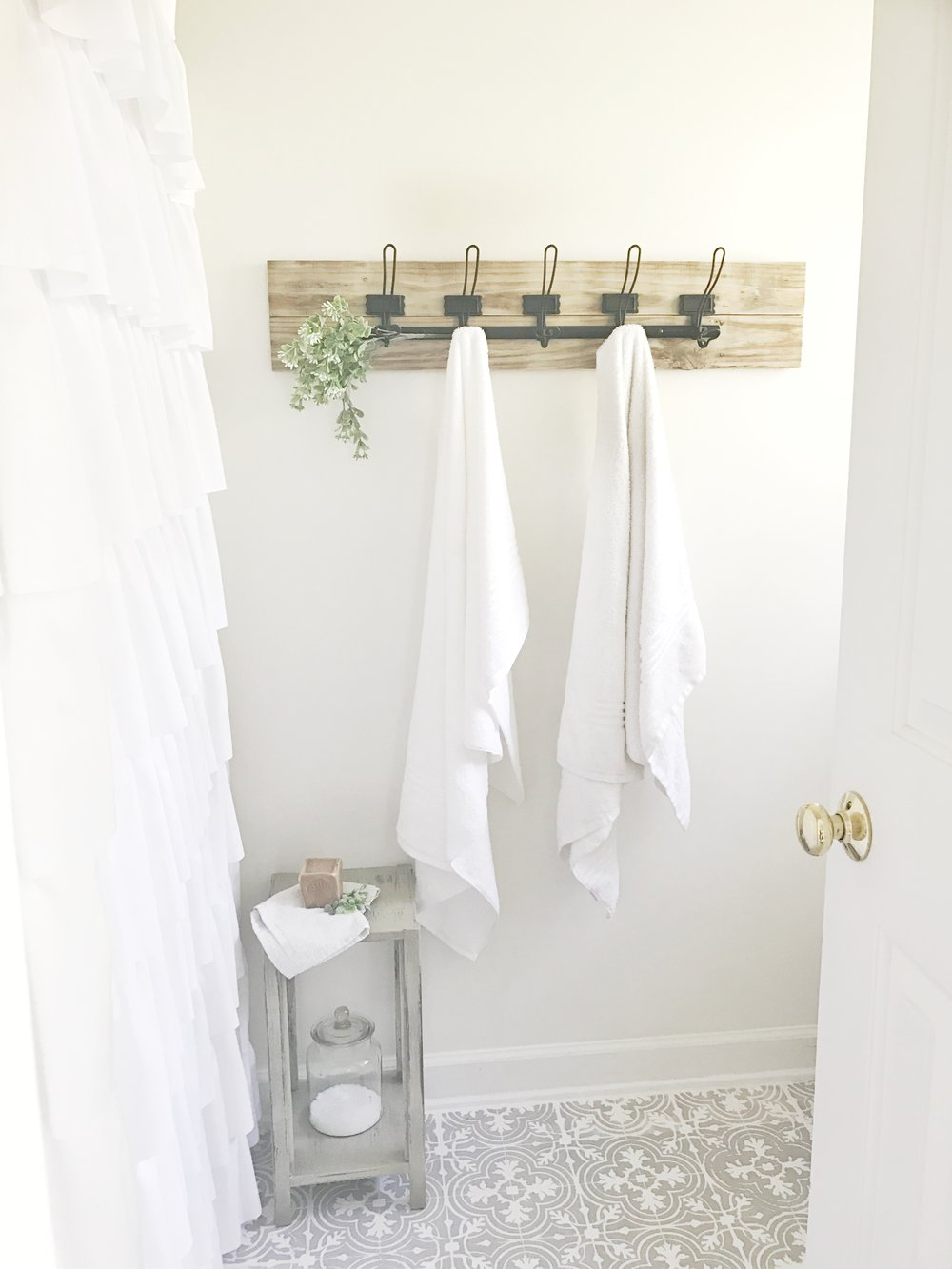 Full Tour- Farmhouse Budget Friendly Weekend Budget Friendly Bathroom Makeover- By Plum Pretty Decor and Design