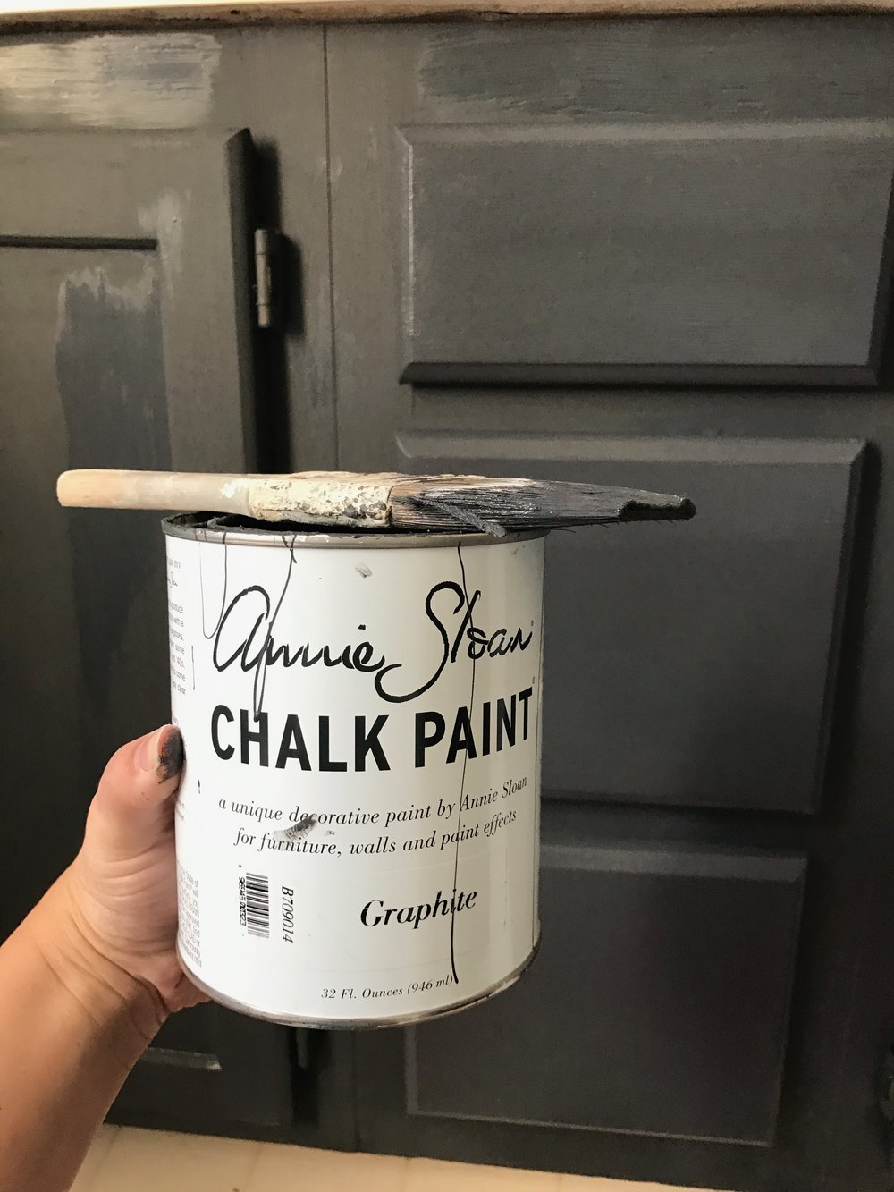 Painted Bathroom Vanity- Annie Sloan Chalk Paint Graphite- Full Budget Friendly Tour by Plum Pretty Decor and Design