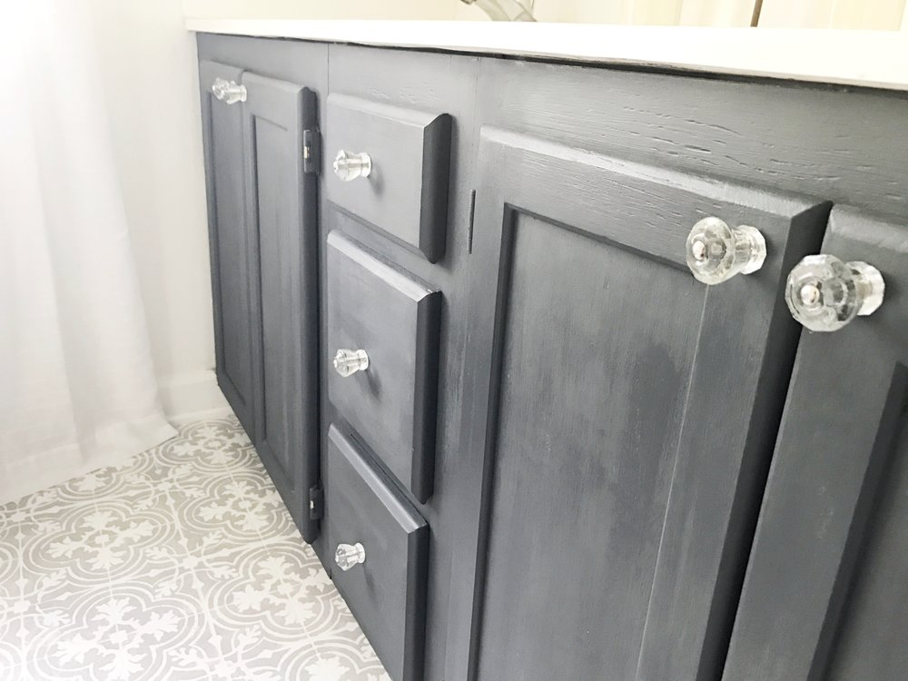 Full Tour- Painted Bathroom Vanity Black/Graphite- By Plum Pretty Decor and Design
