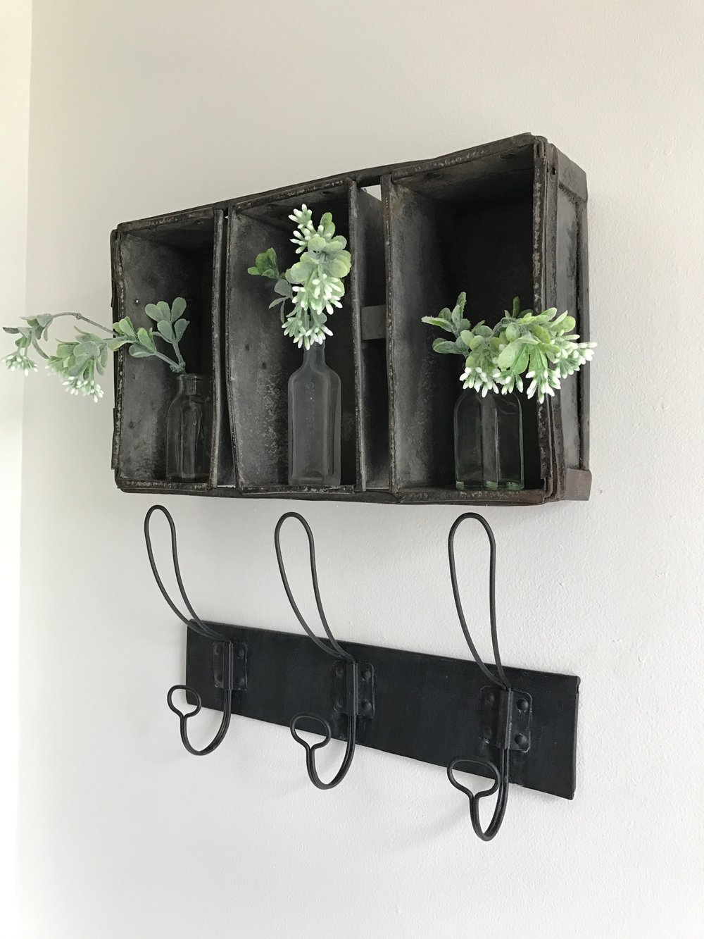 Full Farmhouse Master Bath Tour- With Antique Loaf Pan Wall Decor by Plum Pretty Decor and Design