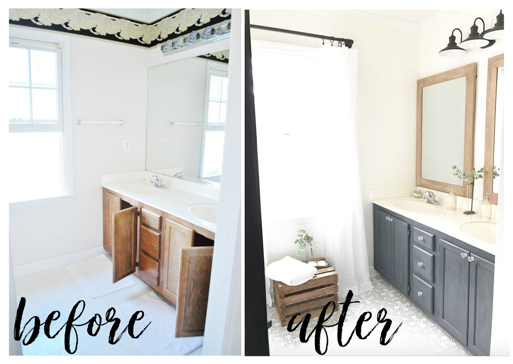 Full Tour of a Once Dated Bath Turned Farmhouse Style Bath- Budget Friendly Weekend Makeover by Plum Pretty Decor and Design