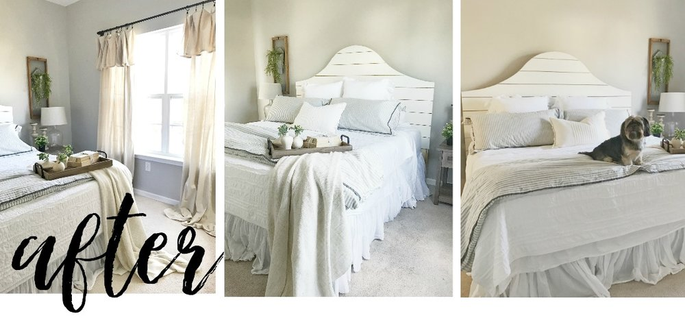 The Simple Abode's Farmhouse Style Master Bedroom- Interior Design by Plum Pretty Decor and Design