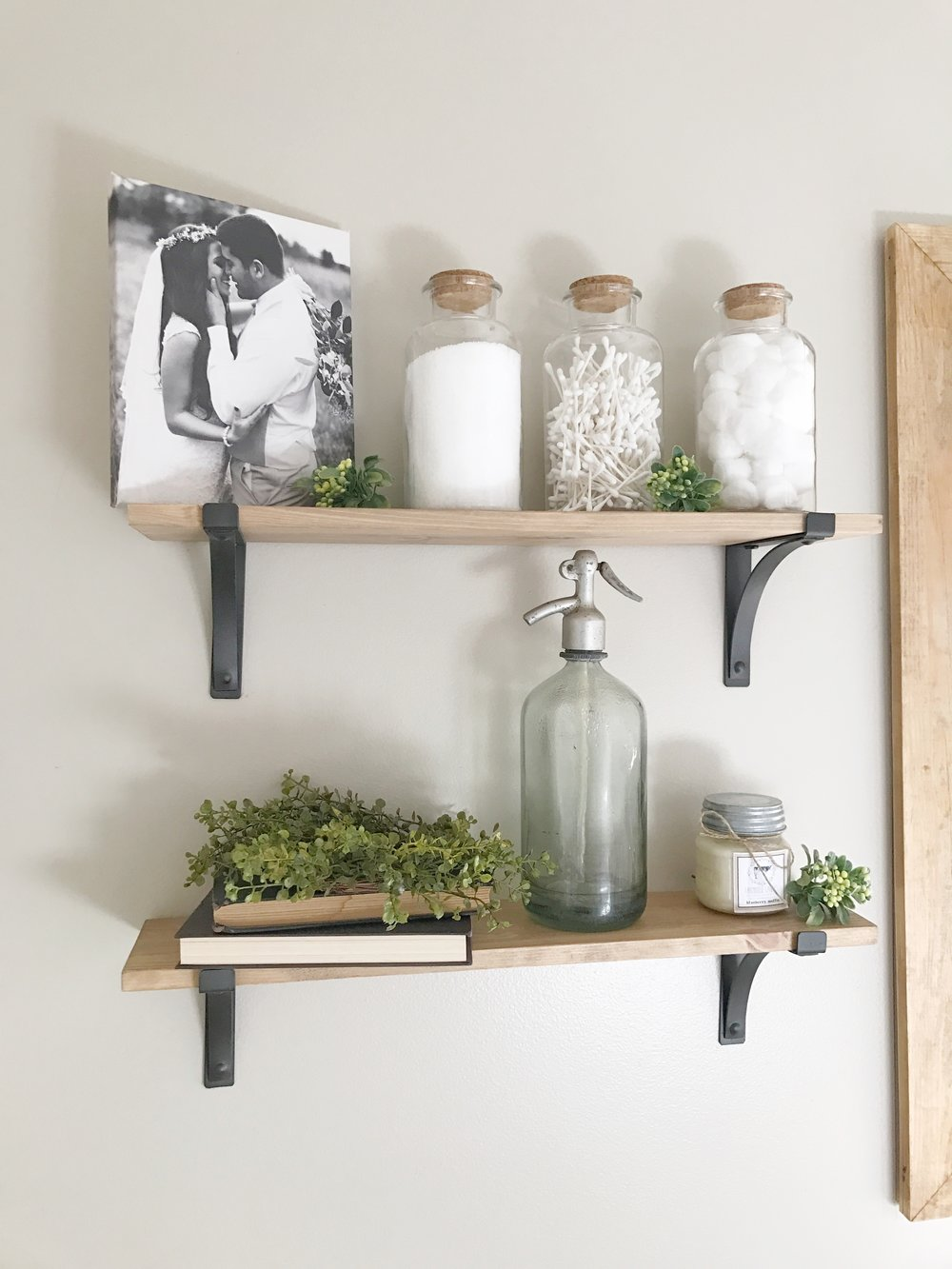 The Simple Abode Interior Design Project  Farmhouse Style Bathroom Styled  Wooden Shelves  By Plum