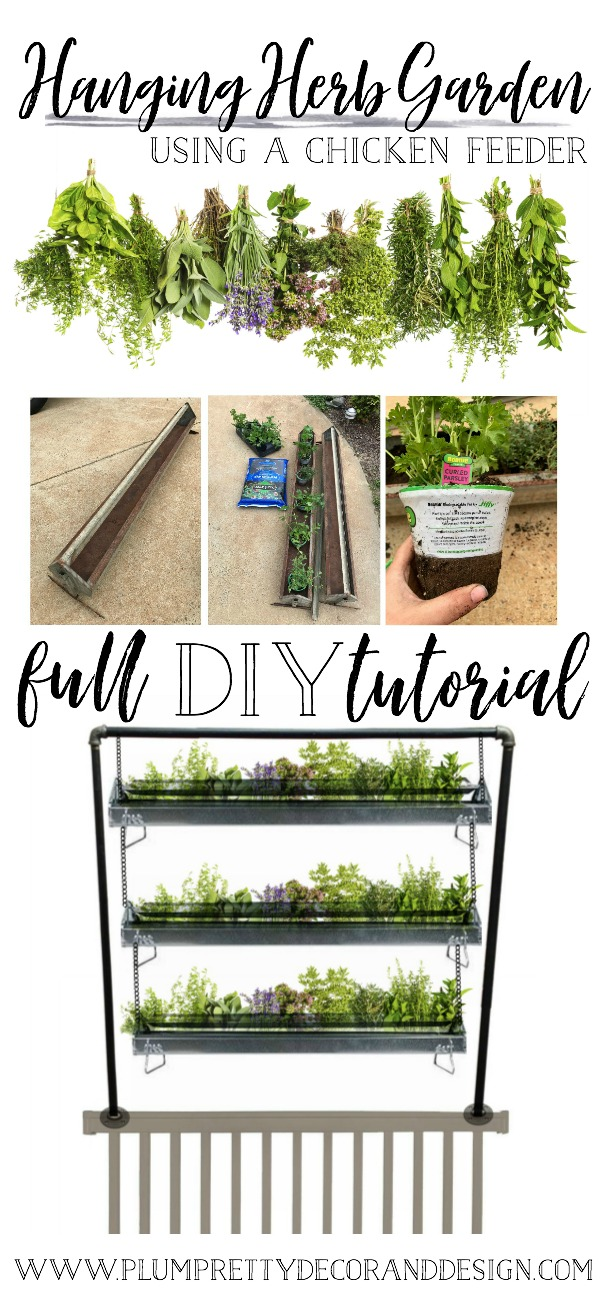 Full DIY Tutorial: Hanging Herb Garden Using a Chicken Feeder