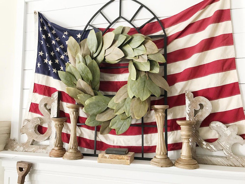 Fourth of July Living Room Mantel Decor by Plum Pretty Decor and Design
