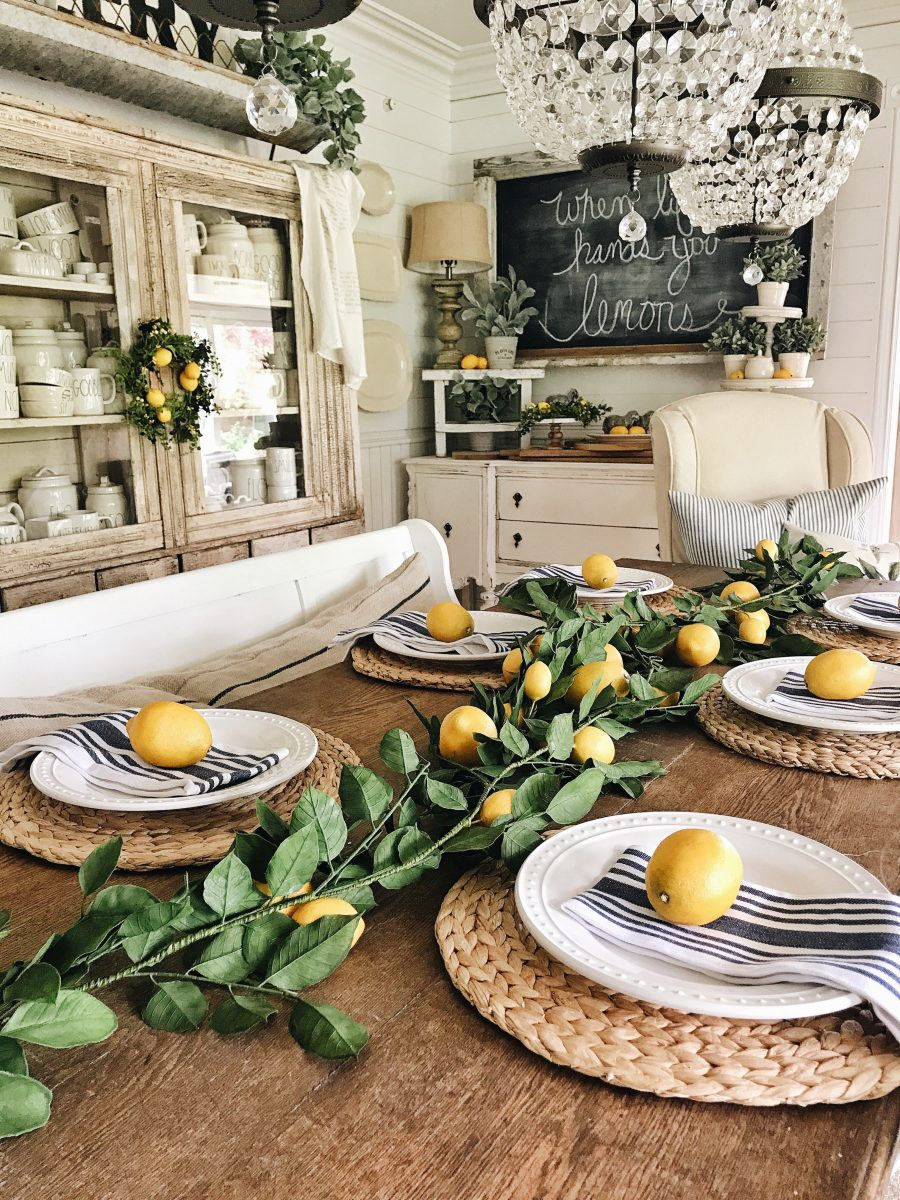 Liz Marie's dining room with lots of lemon lovin' --{ CLICK HERE } to see it on her blog.