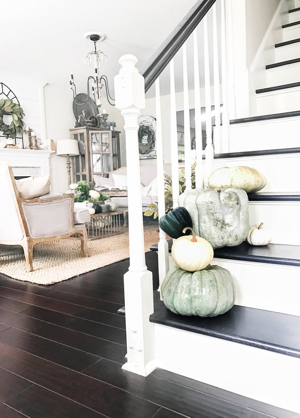Fall Home Tour inside Plum Pretty Decor and Designs Fall Home- Fall Staircase with Pumpkins