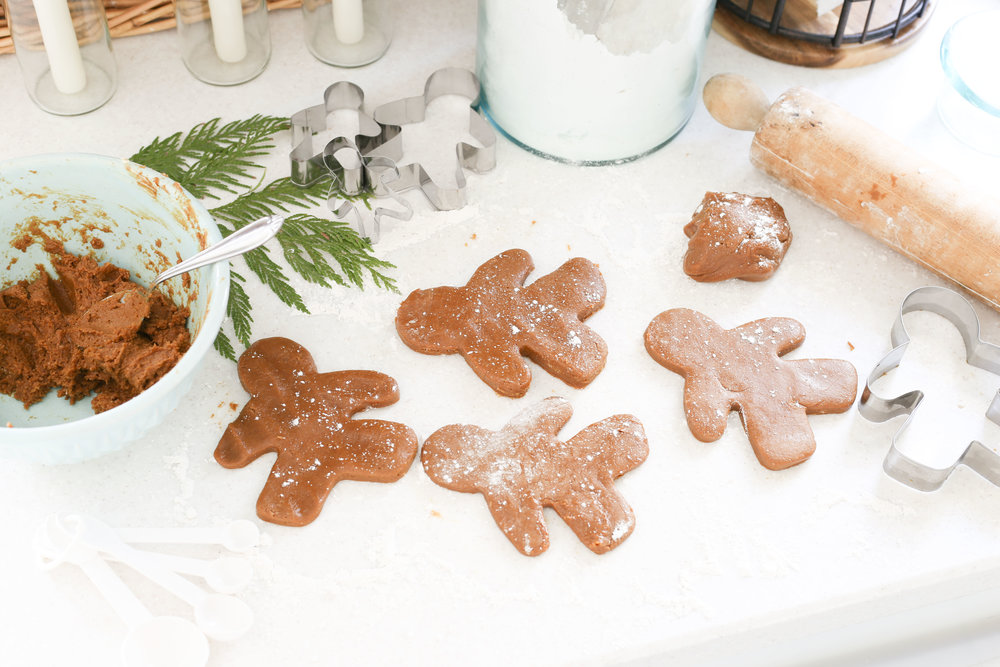 Christmas 2017 Home Tour: Deck The Blogs- Baking Gingerbread Men in the Kitchen- Plum Pretty Decor & Design's Christmas Home Tour