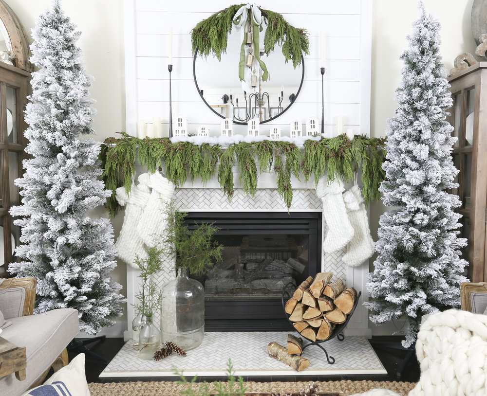 christmas 2017 home tour deck the blogs living room fireplace mantel decor with flocked