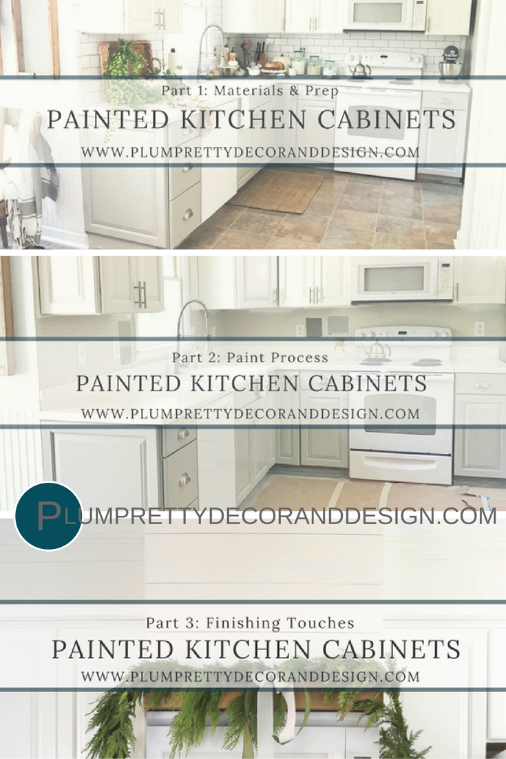 Full Painted Kitchen Cabinet Tutorial- With Custom Hood Above Microwave by Plum Pretty Decor and Design