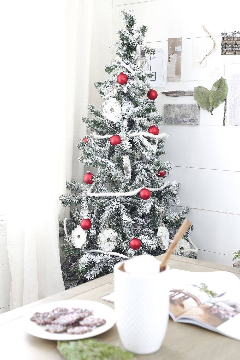 Christmas Home Tour- Holiday Office Decor- Red and White Christmas Tree - Plum Pretty Decor and Design