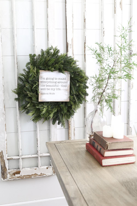 Christmas Home Tour- Holiday Office Decor- Wreath and Big Old Windows- Plum Pretty Decor & Design