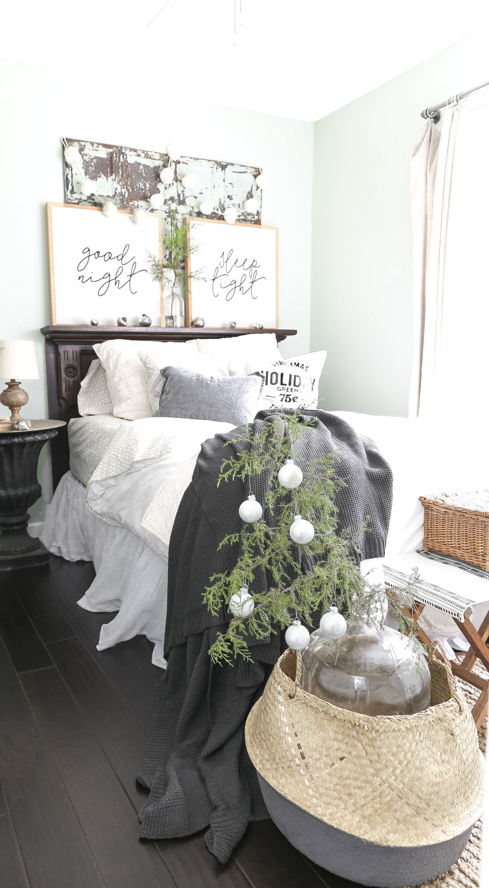 Christmas Home Tour- Guest Bedroom Christmas Decor with small tree in basket- Plum Pretty Decor and Design