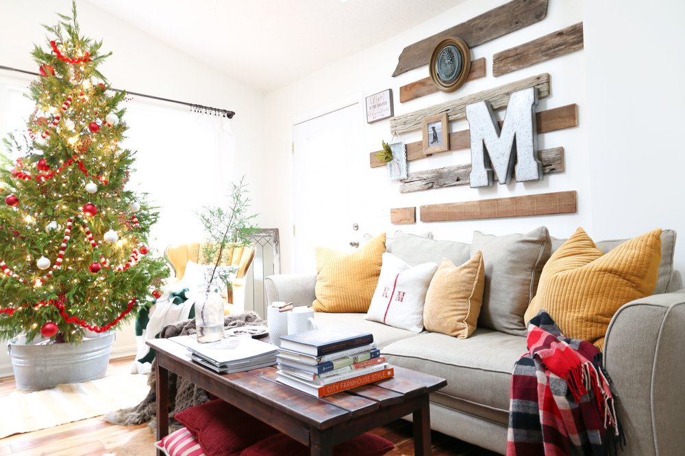 Christmas Family Room- Red and Mustard Decor- By Plum Pretty Decor and Design