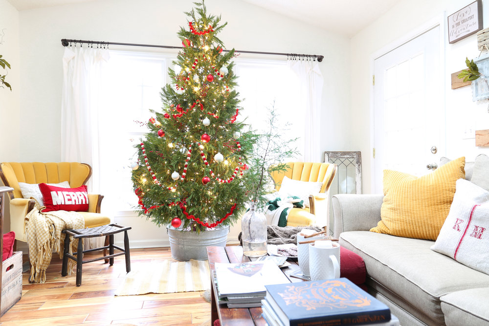 Christmas Family Room with Simple Red and White Christmas Tree- By Plum Pretty Decor and Design
