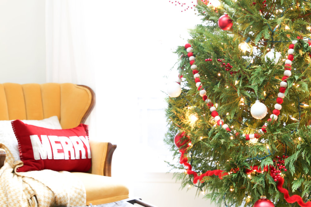 How to decoarte a Leyland Cypress Christmas Tree- By Plum Pretty Decor and Design