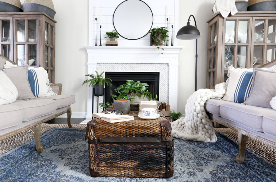Spring Living Room Update with HomeGoods- Modern Farmhouse Living Room by Plum Pretty Decor & Design Co.