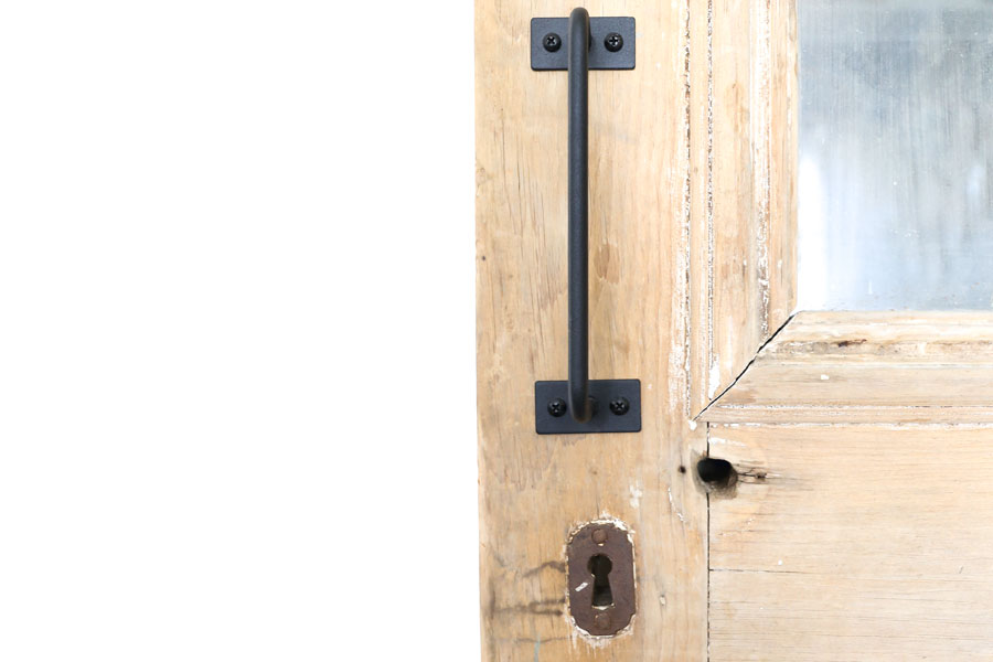 Modern Farmhouse Door Pull on Antique Pantry Door- By Plum Pretty Decor & Design