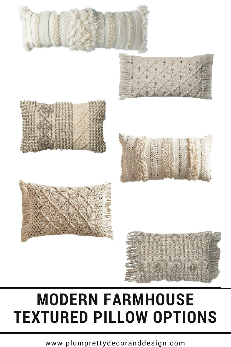 Modern Farmhouse Textured Pillow Options- By Plum Pretty Decor & Design Co.