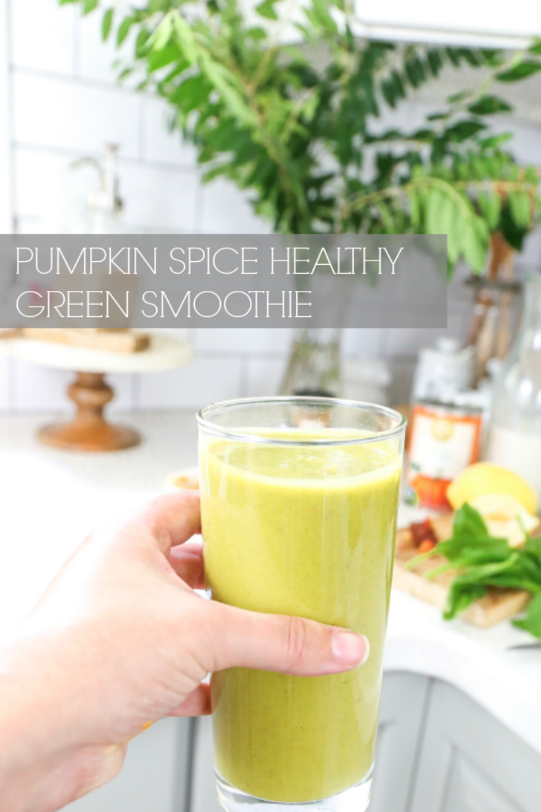 Healthy Pumpkin Spice Green Smoothie Recipe: High in protein and fiber with a yummy pumpkin spice fall taste.