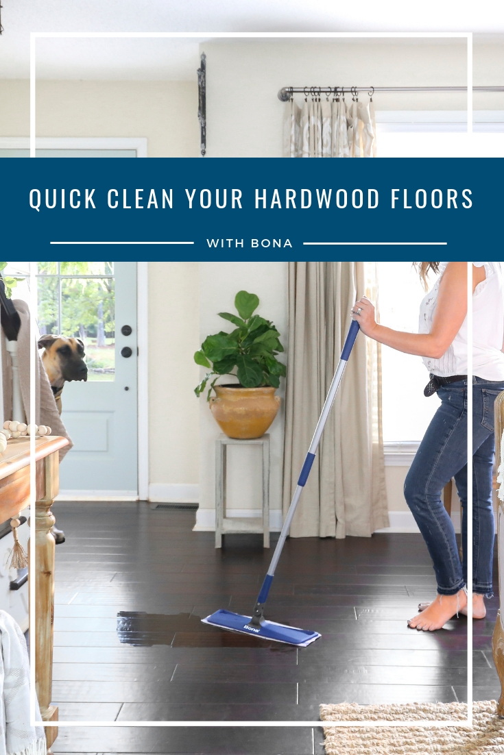 Bona Quick Clean Hardwood Floor Cleaner- Removes dust, dirt, and grime leaving your floors clean and beautiful. Used and trusted by Plum Pretty Decor and Design.
