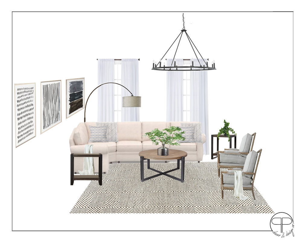 Original Option in First Design with the selected sectional and new chairs.-  CLICK HERE  (10x14 size with new size sectional)