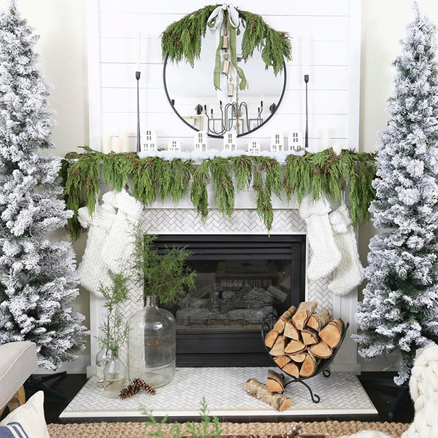 A picture from Christmas past... Who is getting the Christmas itch?? This view definitely gave it to me. I may or may not have started decorating. ❤️ . . . #christmasdecor#christmasmantle#christmasgreens#christmasfireplace#neutralchristmas#neutralchristmasdecor#shiplapfireplace#flockedchristmastree#bhghome#bhgholiday#christmastree#housebeautiful