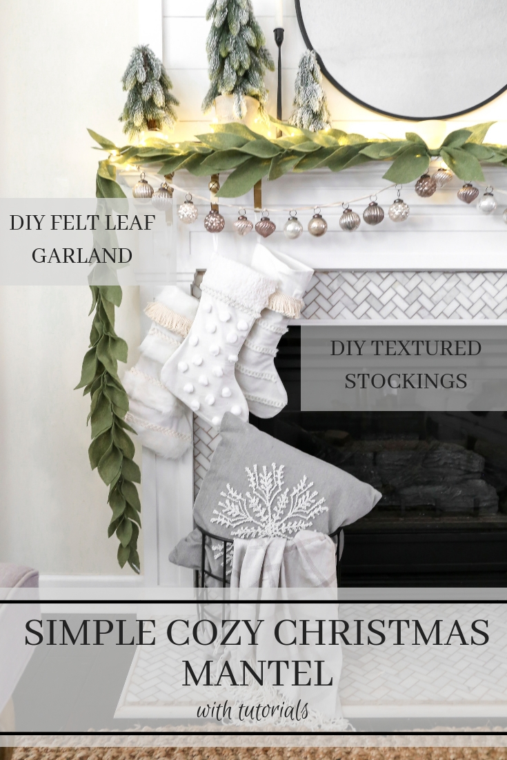 Simple Christmas Mantel Decor- With a DIY Felt Leaf Garland Tutorial and DIY Textured Stocking created with JOANN #AD#Handmadewithjoann