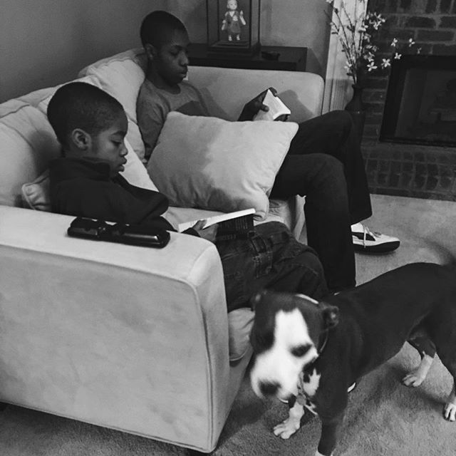 In the corner on the couch before school starts! I came down expecting the TV to be on and they were doing their usual. Hahaha