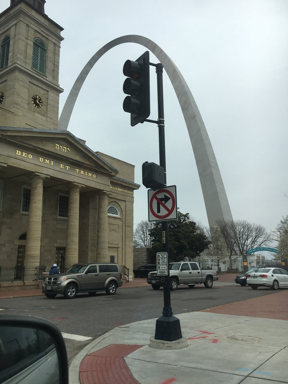 St. Louis, as seen from our car while trying to navigate traffic.